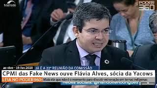 Ao vivo: CPMI das Fake News ouve Flávia Alves, sócia da Yacows