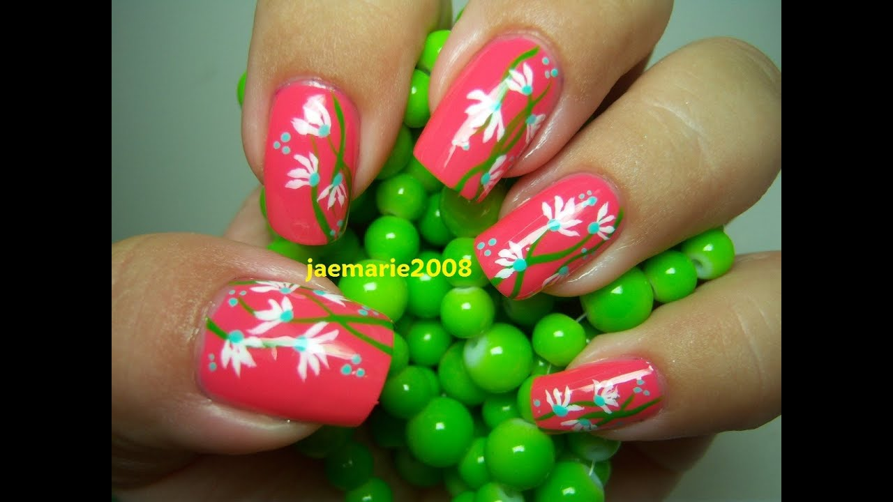 Simple Abstract Flowers Nail Art Youtube
