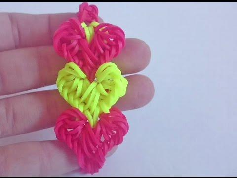Браслет Переплетение сердец из резинок Rainbow Loom Крючком, Без станка, Радужки Rainbow World