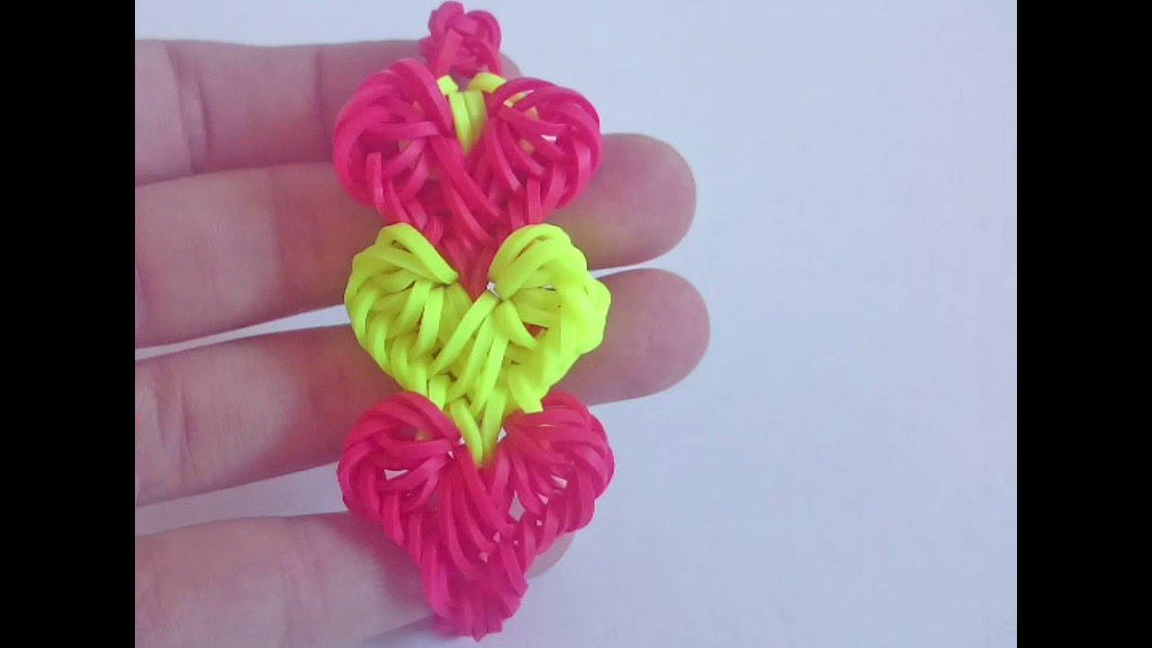 Схема браслета из резинок сердечки