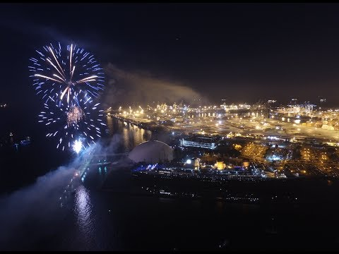 Drone in Fireworks - Long Beach, CA Queen Mary 2017 - 4th of July