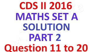 cds 2 2016 maths full paper solution part 2