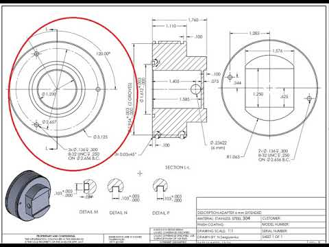 How to Read engineering drawings and symbols tutorial - part design
