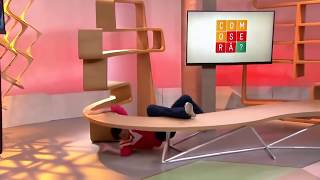 woman at tv show falls over bench