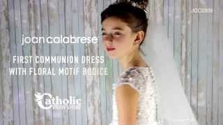 Joan Calabrese First Communion Dress with Floral Motif Bodice JCC5309
