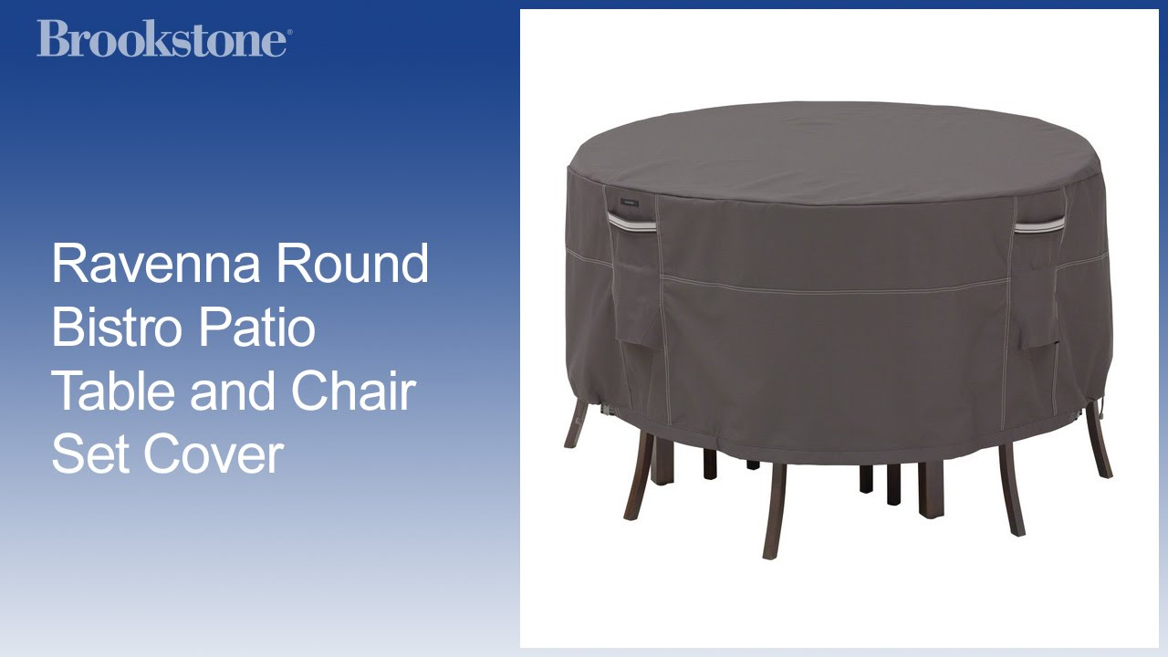 patio table and chair set cover grey accent with ottoman ravenna round bistro youtube