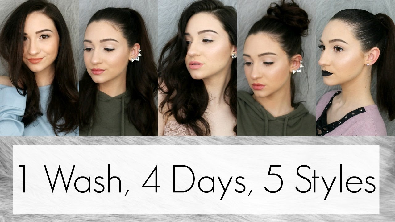 How I Style My 1st, 2nd, 3rd & 4th Day Hair || 5 Cute Hairstyles For Greasy Hair ...