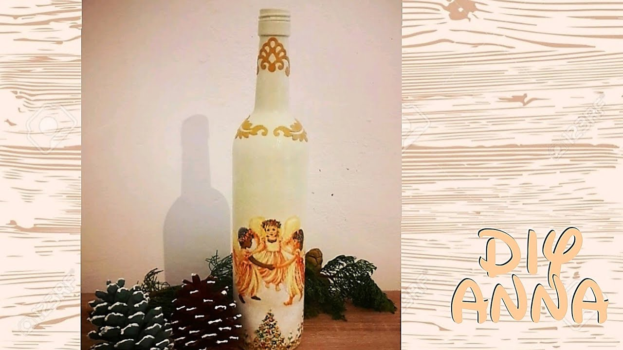 christmas decoupage bottle diy ideas decorations craft tutorial uradi sam youtube