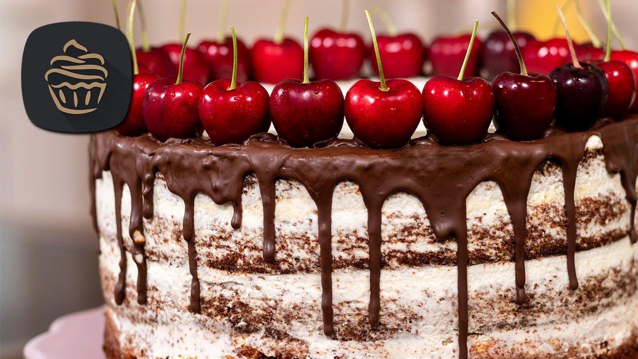 Saftige Schoko Kirsch Torte - Naked Cake mit Mascarponecreme | Geburtstagstorte
