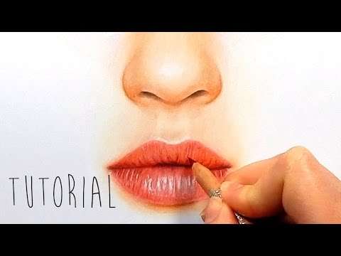 Tutorial | How to draw, color realistic lips with colored pe