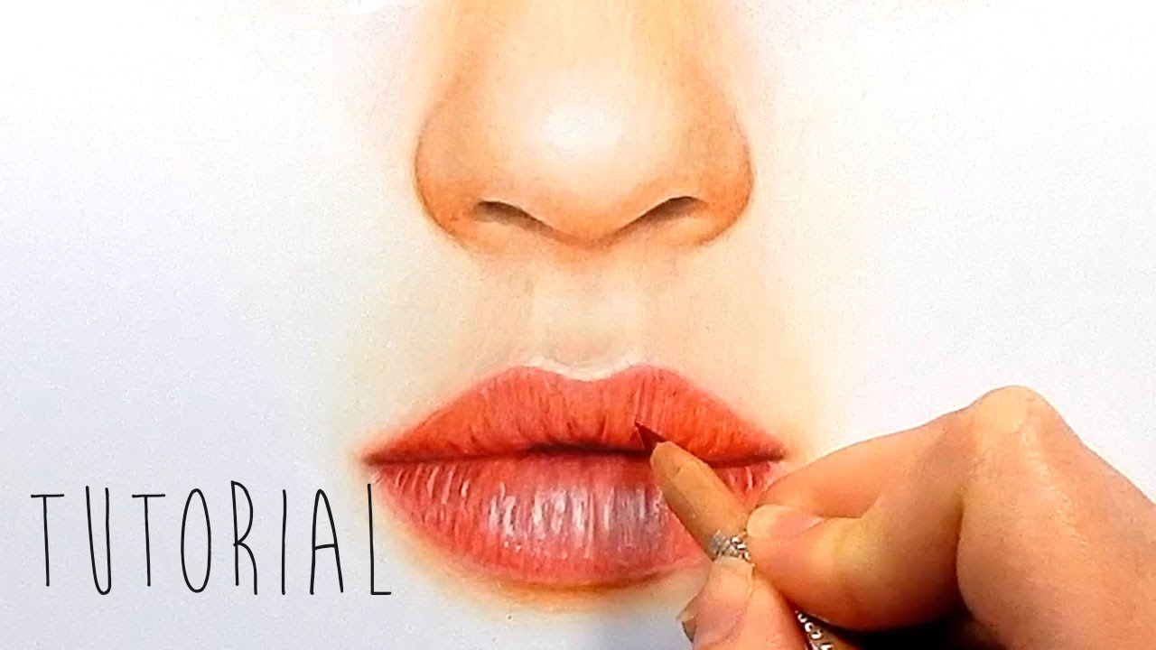 tutorial how to draw color realistic lips with colored pencils