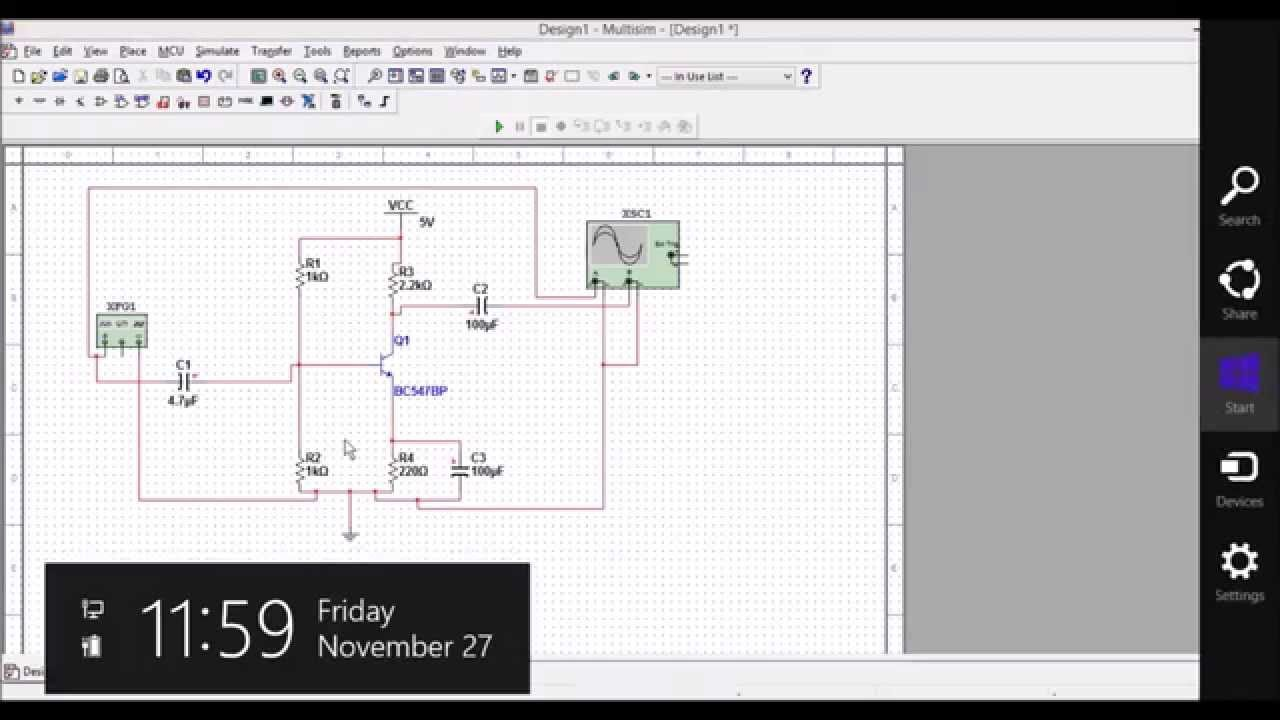 How to draw ce amplifier circuit using multisim software youtube ccuart Images