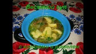 Весенний суп с клецками и щавелем