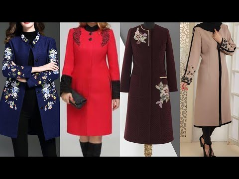 today's tranding fashion winter special long coat/jacket with embroidered design party wear collect