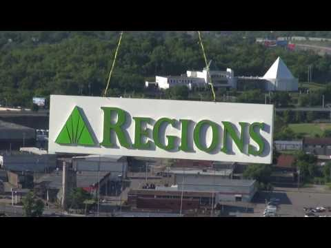 Helicopter Sign Installation For Regions Bank In Nashville, TN.