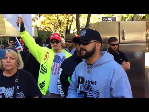 Patriot prayer rally walk threw downtown. Antifa  fallows behind chanting .