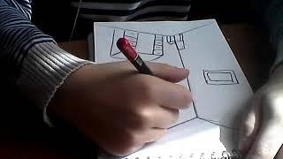 как нарисовать  комнату карандашом