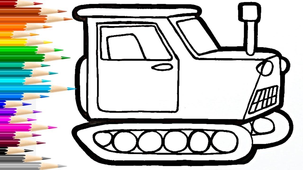 Как нарисовать ТРАКТОР ГУСЕНИЧНЫЙ / раскраска для детей ...