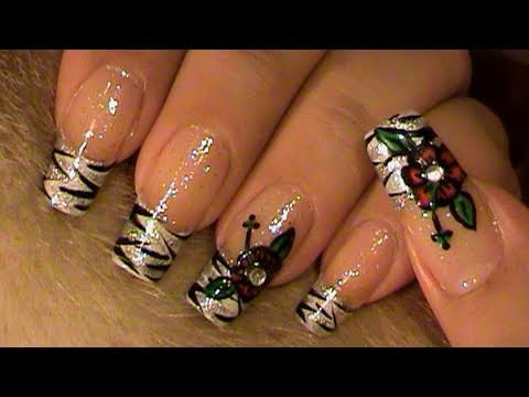 zebra french manicure red flower