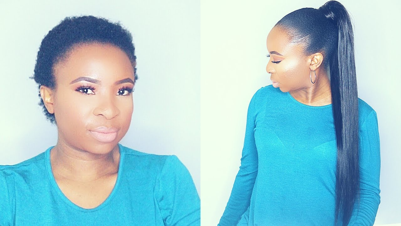 How To Do Sleek Ponytail With Weave On Short Natural Hair Tondie Phophi Youtube