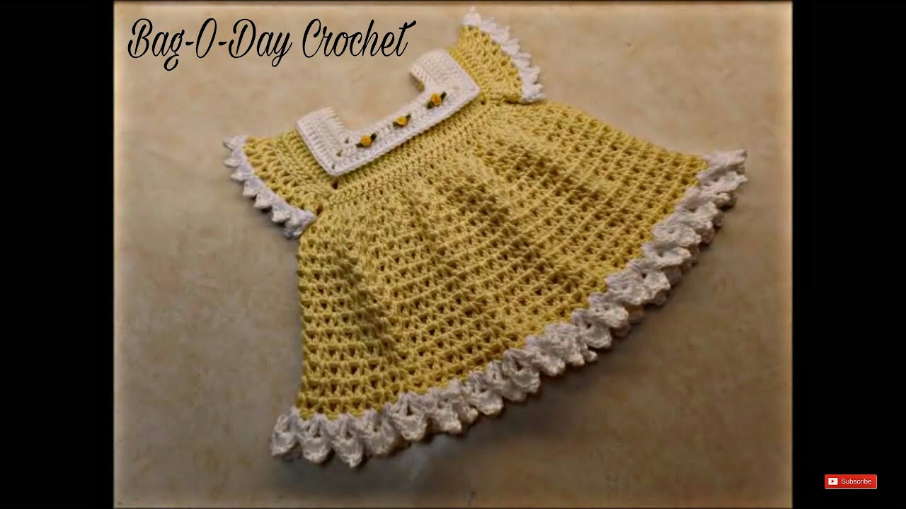 2311a55ce444 CROCHET How To  Crochet Sunshine   Roses Baby Dress 0-6 Months ...