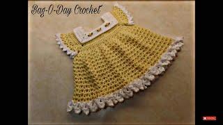 CROCHET How To #Crochet Sunshine & Roses Baby Dress 0-6 Months #TUTORIAL #352