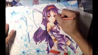 Drawing Yuuki Konno  (紺野 木綿季) from Sword Art Online (刀劍神域)
