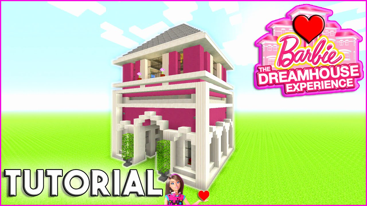 Minecraft Tutorial How To Build Barbie Dream House Survival House How To Make Pink