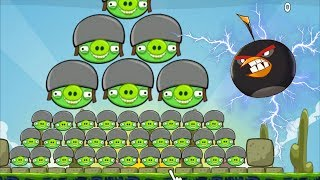 Huge Angry Birds - 100 HELMET PIGGIES GOT BLASTED BY ONE BOMB BIRDS LEVELS!