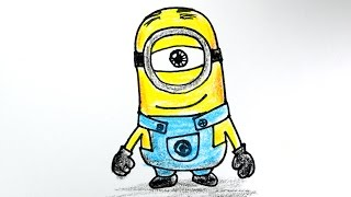 How to draw  Minion from Despicable Me  / 미니언 그리기 / cute kawaii  かわいい 可愛  / 귀여운  손그림 그리는 법