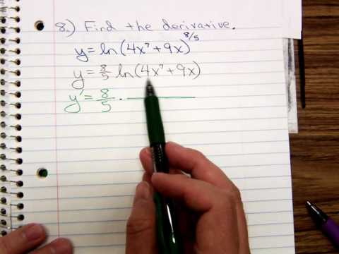 Math 1325 Derivatives of Ln