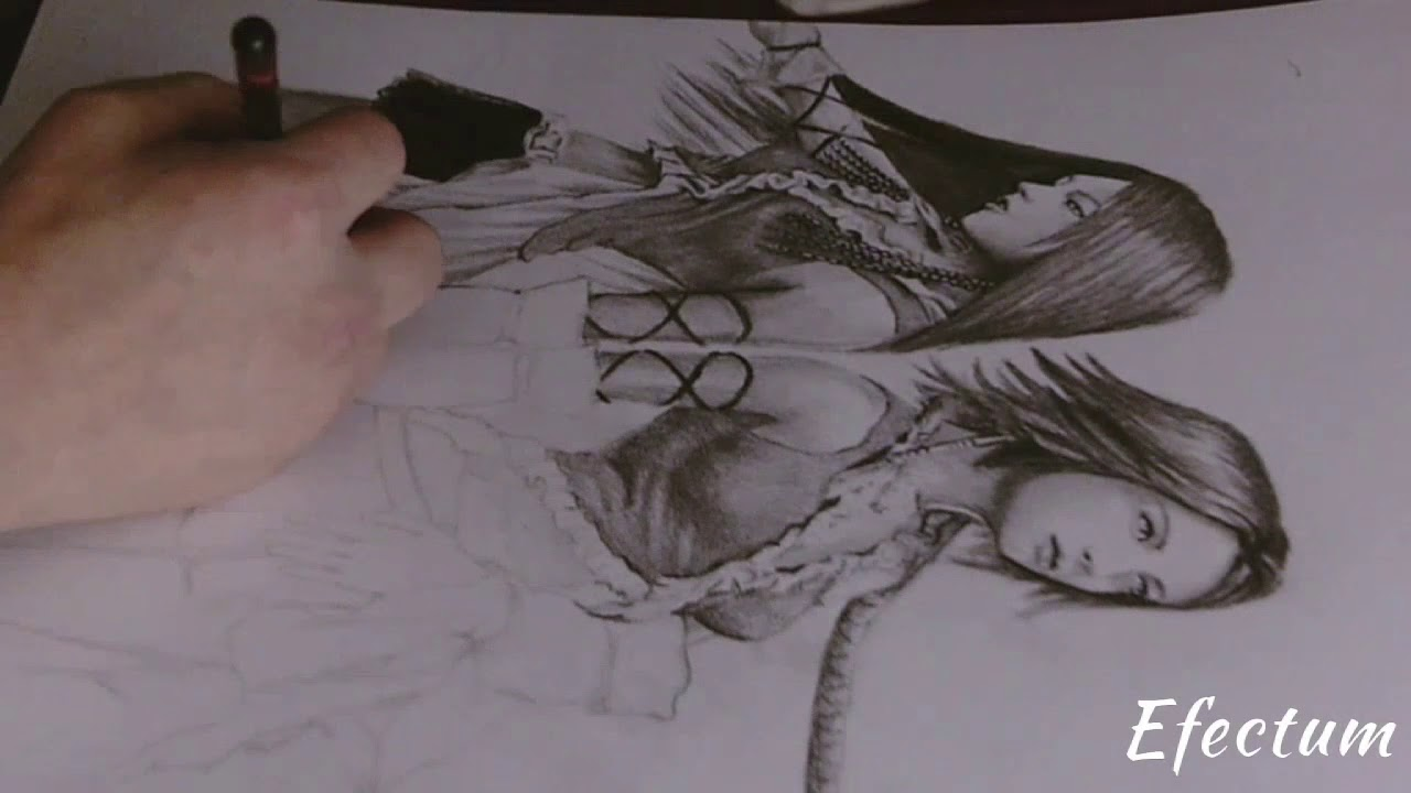 Lenne And Yuna Final Fantasy X 2 Timelapse Drawing
