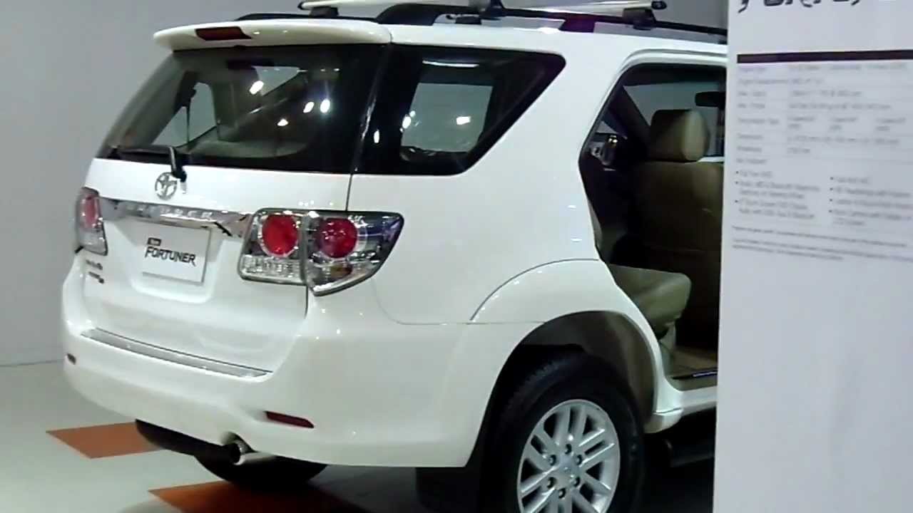 Back view of New Toyota Fortuner with specs at Auto Expo 2012, New Delhi,  India