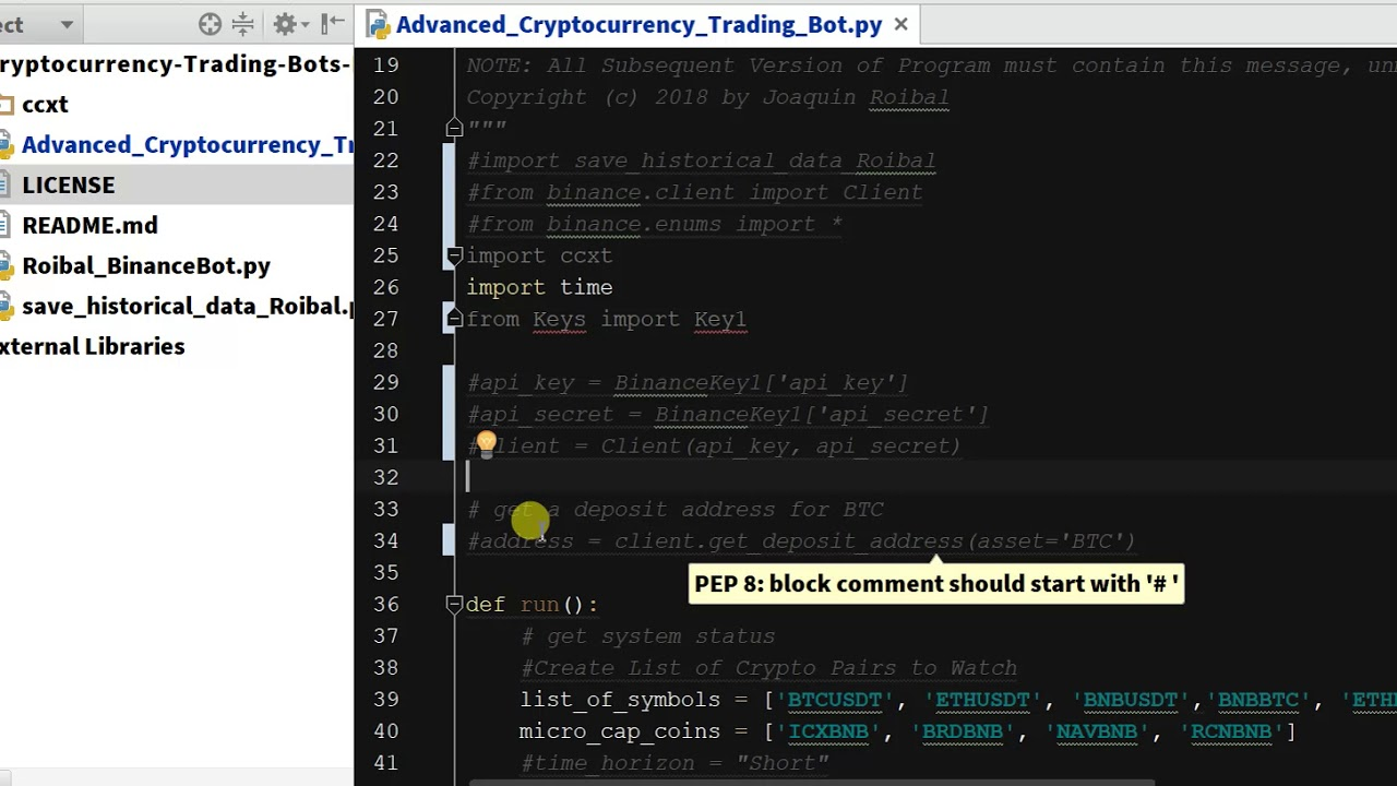 cryptocurrency trading bot python