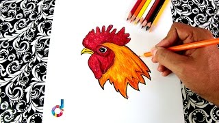 How to draw a Rooster Beak, Crest, Crow