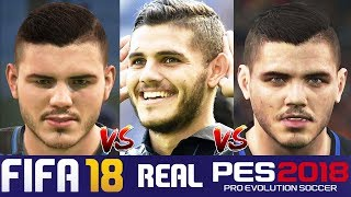 Fifa 18 vs pes 18 inter milan faces comparison (icardi, perisic + more)
