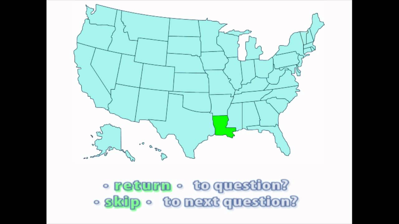 Interactive United States Map Quiz Location of Louisiana YouTube