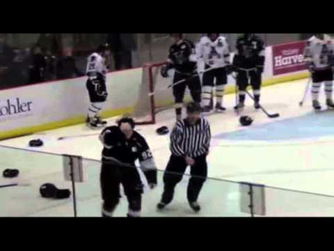 Hockey Fight - Moore vs Sangster & Gibson vs Styler