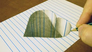 3D SIMPLE & EASY DRAWING TRICKS - HEART SHAPED HOLE - ART ON LINE PAPER