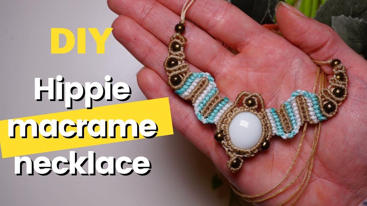 Knotted necklace Festival jewelry Tribal necklace Boho Jewelry Macrame hemp necklace