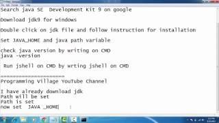 JDK-9 ( Oracle JAVA 9) installation  on Windows