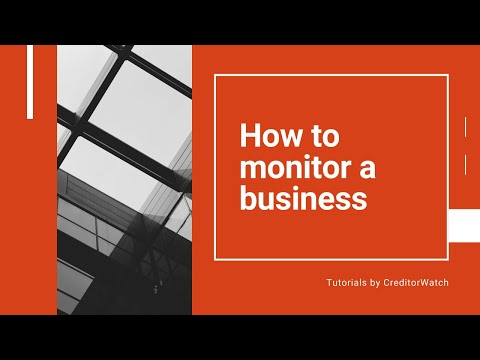 How to monitor a business