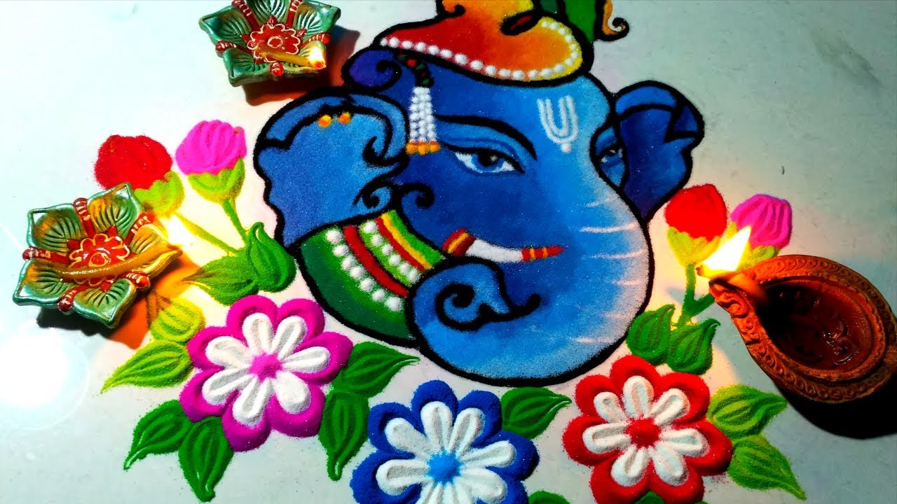 Image result for ganesh rangoli