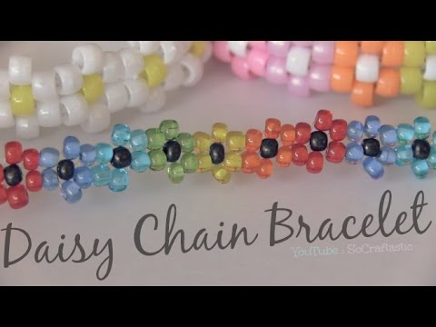 DIY DAISY CHAIN BRACELET - Beaded Flower Jewelry - How To | SoCraftastic