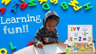 Learning Numbers and Abc's! Educational Magnetic Easel   Playing with puzzles and magnetic pieces