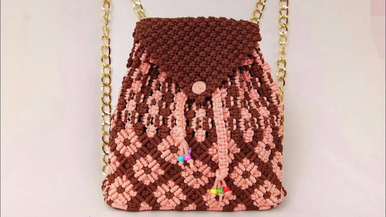 Tutorial Lengkap Tas Ransel Dari Tali Kur - Full Making Of Macrame Backpack Bag #1