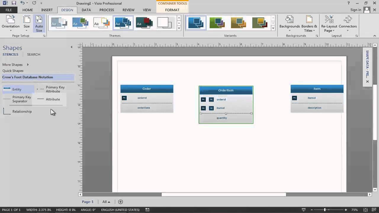 entity relationship diagram tutorial chevy 350 wiring to distributor data modeling in visio 2013 - youtube