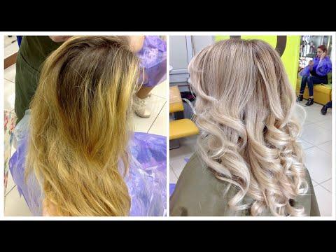 Коррекция желтого цвета волос // Correction Of Yellow Hair Color | BALAYAGE CORRECTION