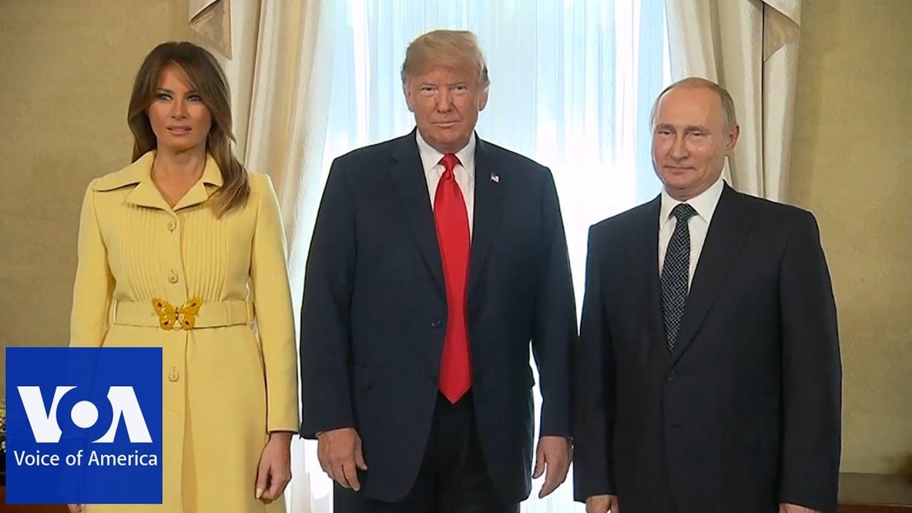Меланија Трамп со жолт стајлинг на средбата со Владимир Путин
