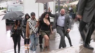 EXCLUSIVE - Nicki Minaj arrives at Haider Ackermann Fashion Show wearing only pasties